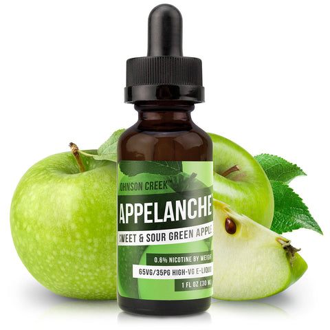 30mL bottle picture. High-VG e-liquid. Tart green apple e-juice. Intense flavor for the sour green apple fanatics out there.