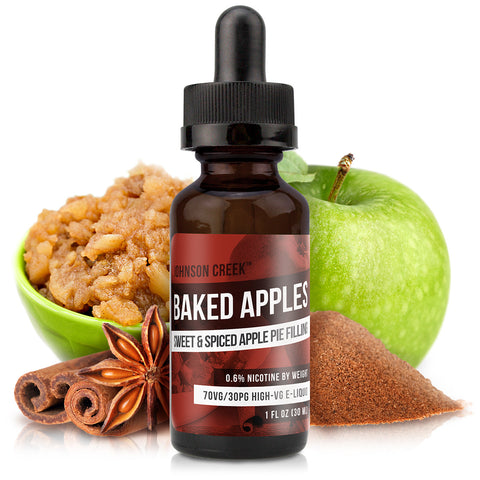 30mL bottle picture. Apple pie e-Liquid. Inspired by the warm taste of baked apples and cinnamon, you deserve this dessert vape!