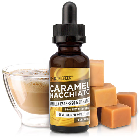 30mL bottle picture. Creamy vanilla, sweet caramel, and robust espresso this coffee e-Liquid is perfect for whenever you want an inviting treat.