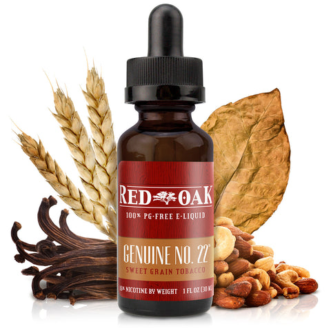 30mL bottle picture. Premium light tobacco e-liquid. Mild tobacco (Virginia and Burley) and nutty with sweet grains. PG-free e-liquid.