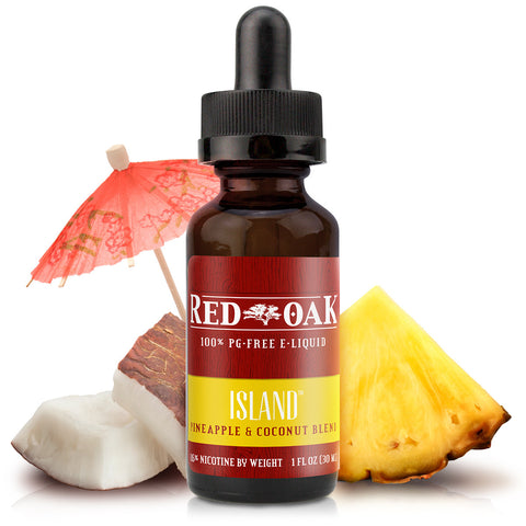 30mL bottle picture. Island is a Pina Colada vape that starts with tart pineapple rounded out with creamy coconut and a hint of rum.