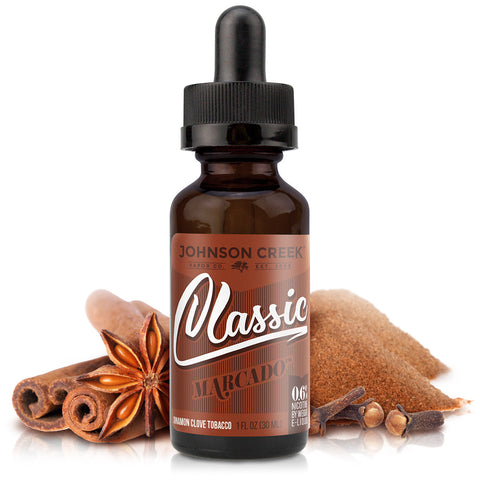 30mL bottle picture. Premium clove and tobacco e-Liquid. Dark cigar tobacco, savory clove, warm cinnamon, and other fine spices.
