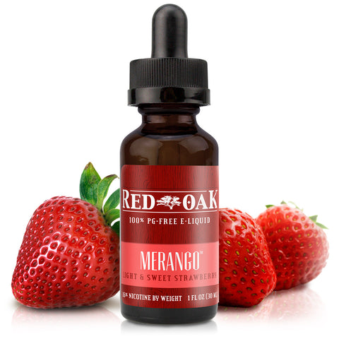 30mL bottle picture. PG-free strawberry e-liquid. Light, sweet, & wonderful for someone looking for a fruit vape or looking to blend with a tobacco or menthol flavor.