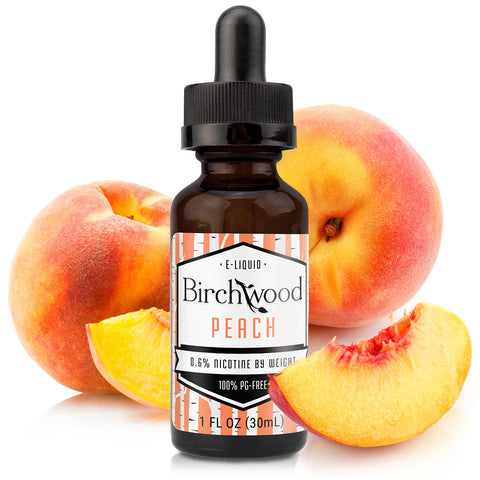 30mL bottle picture. PG-free peach e-liquid. A combination of peach flavors makes this a sweet, sun-soaked Georgia peach. Delightful fruit vape.
