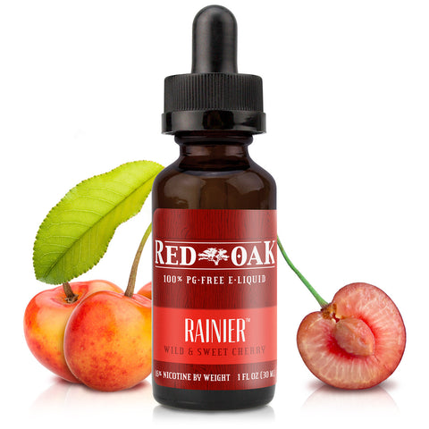 30mL bottle picture. PG-free cherry e-liquid inspired by Rainier cherries. Natural flavor. Smooth, light, sweet, and plenty of vapor.
