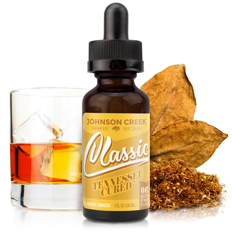 30mL bottle picture. Rich and smoky premium tobacco e-liquid. Burnt caramel, vanilla, and mesquite blended with classic tobacco flavors.