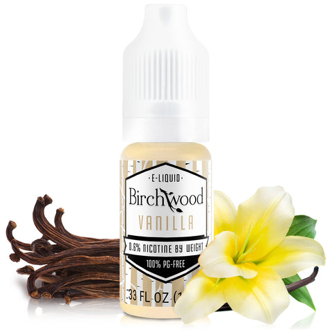 10mL bottle picture. PG-free E-liquid. Warm bakery vanilla vape with a hint of tobacco.