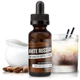 30mL bottle picture. High VG e-liquid. White Russian. Coffee, rich cream, and smooth.