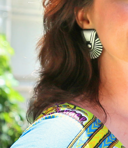 silver fan statement earrings