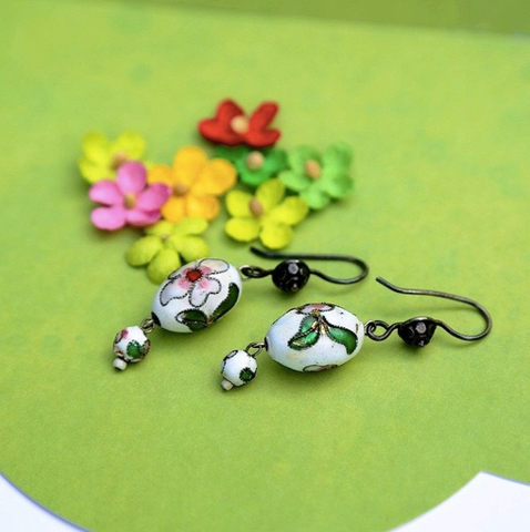 Pink and green floral drop earrings