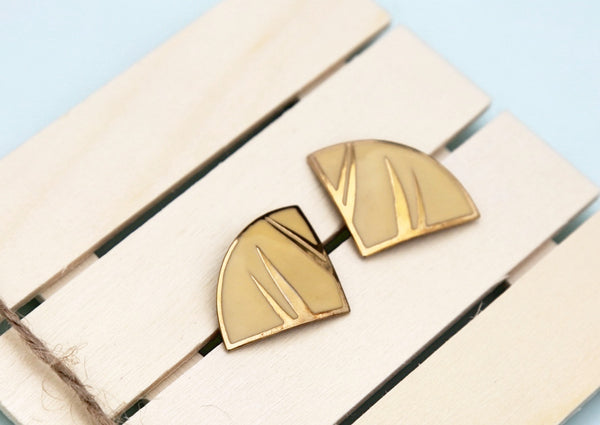 80's yellow geometric earrings