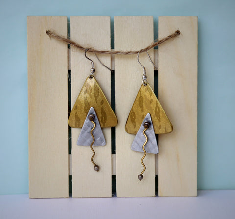 80's gold and silver triangle drop dangle earrings