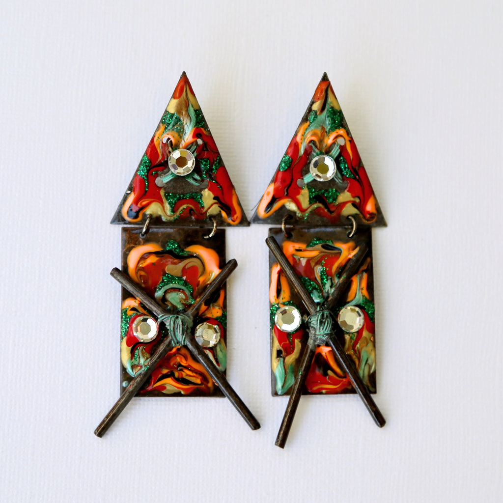 colorful amazonian metal earrings
