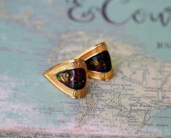Vintage curved metal gold purple and green earrings