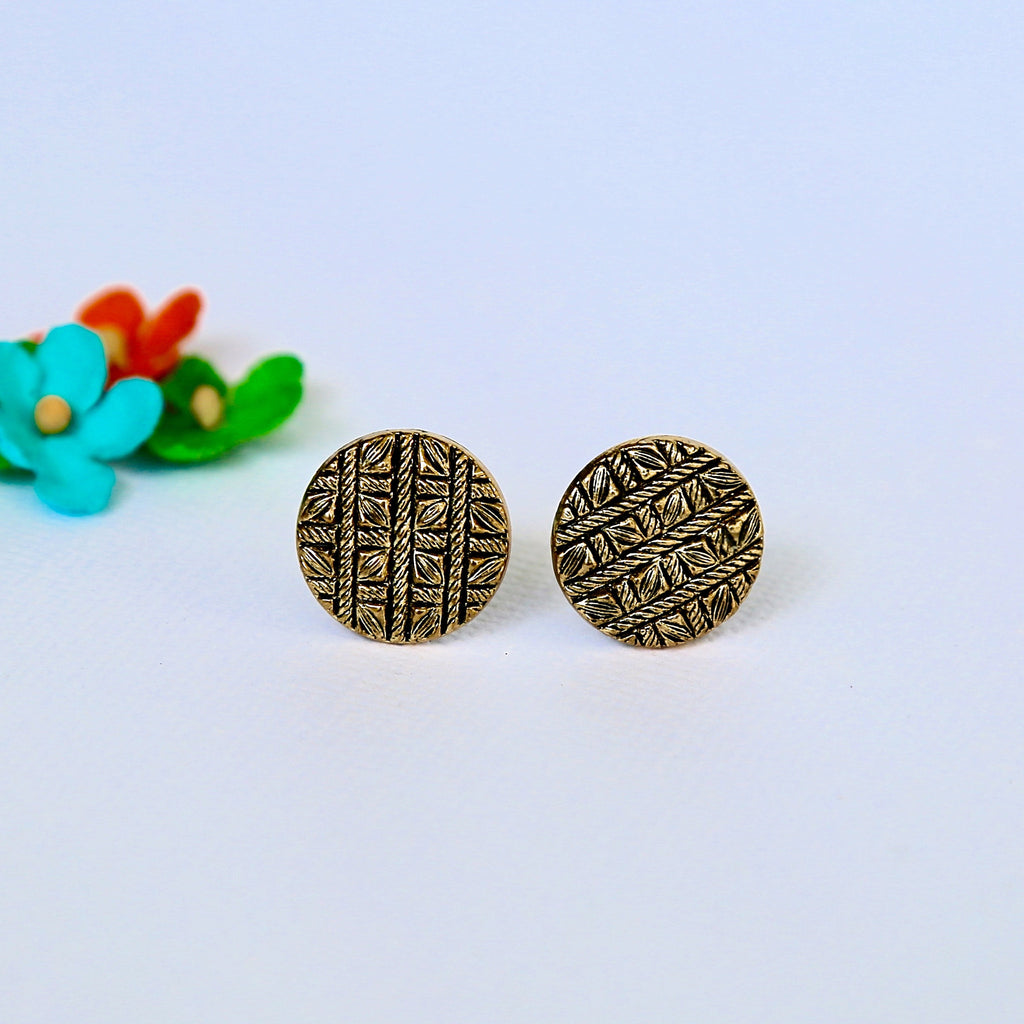 Texture_woven_button_earrings