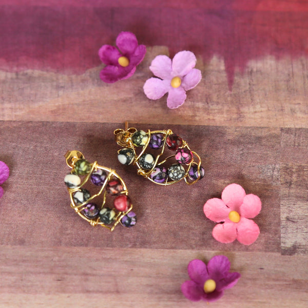 Purple & Pink Gold Wire Studs