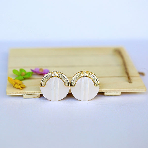 White & Gold Button Studs