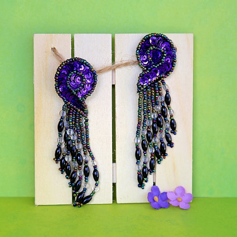 80's Retro Purple Sequin Earrings