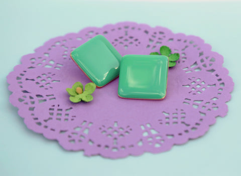 Bright Green Square Post Earrings