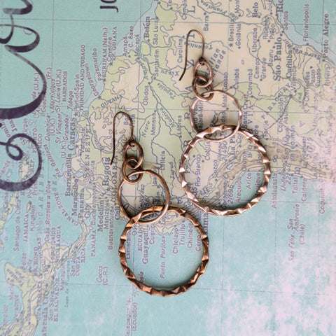 long textured statement hoop earrings