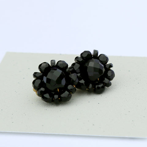 Black Vintage Beaded Clip-On Earrings