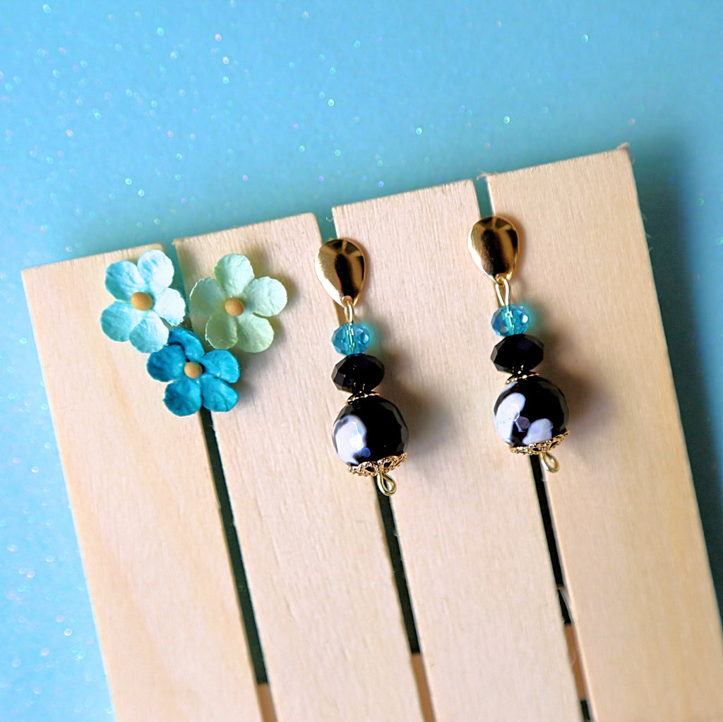 Aqua & Black Shimmery Dangle Earrings