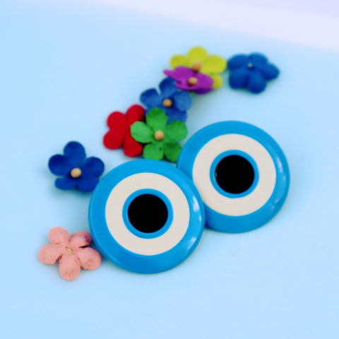 Blue round target earrings