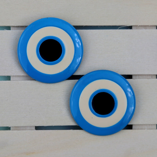 Round bright blue post earrings