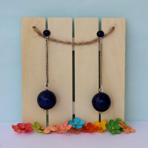Long dangle dark blue vintage earrings