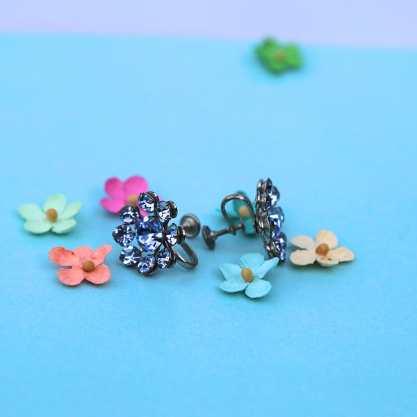 vintage light blue rhinestone earrings