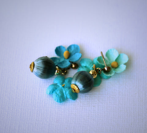 vintage silk bead blue earrings