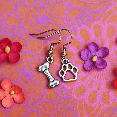 bone and paw dog lover earrings