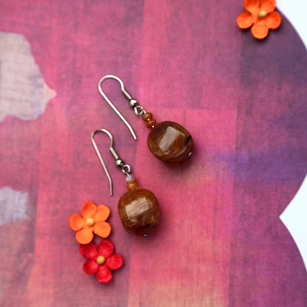 marbled brown plastic ball dangle earrings