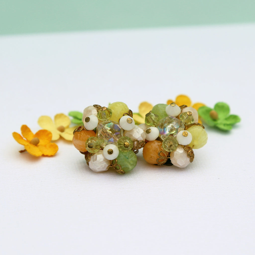 Colorful Bead Cluster Clip On