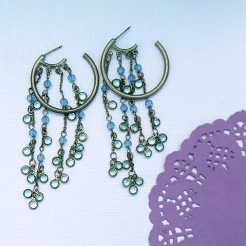 Blue Dangle Silver Hoop Earrings