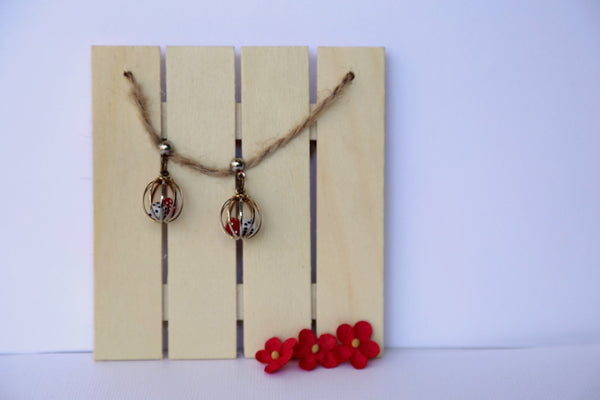 red white and gold dice earrings