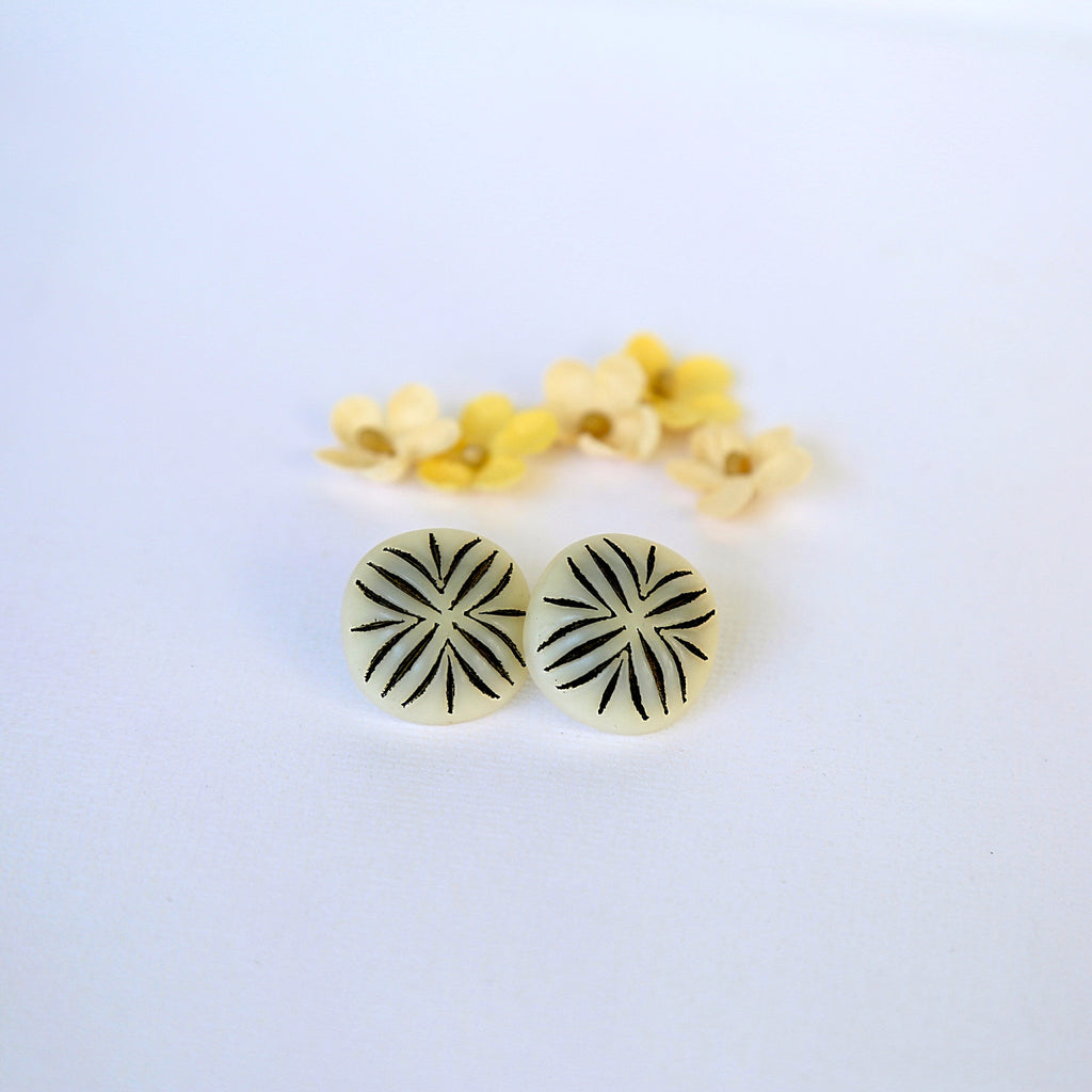Black and bone white statement stud button earrings