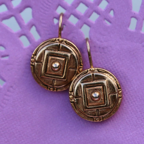 Mini Round Geometric Earrings