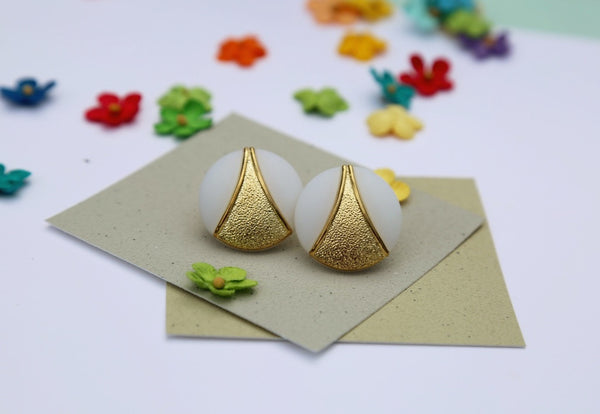 White & Gold Button Earrings