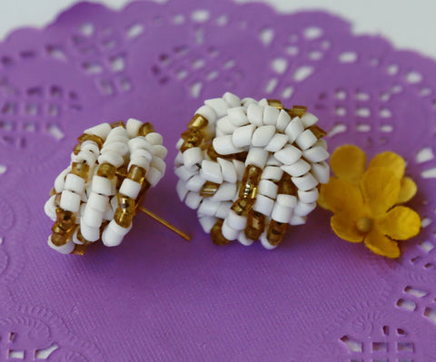 White and gold beaded bohemian glass earrings
