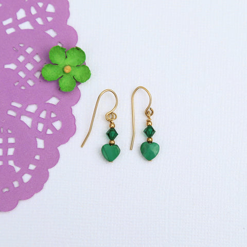 Green Heart Mini Dangle Earrings
