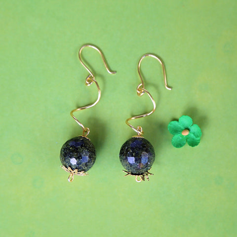 Hunter Green Spiral Twist Dangle Earrings