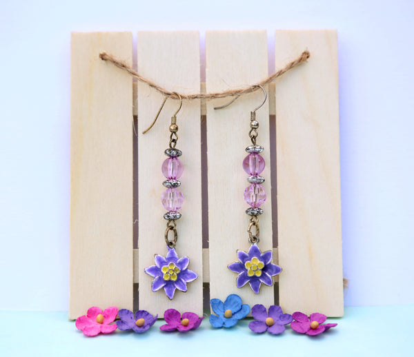 Purple Flower Power Earrings