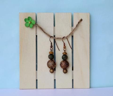 natural earthtone bohemian drop earrings