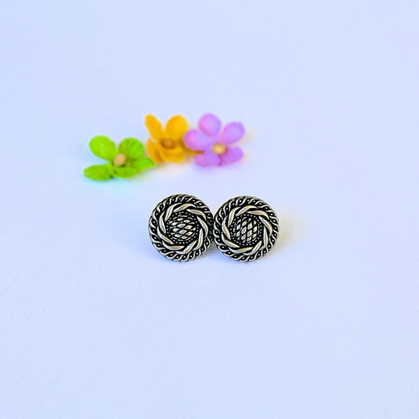 Silver Mandala Button Earrings