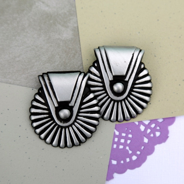 Bold silver fan earrings