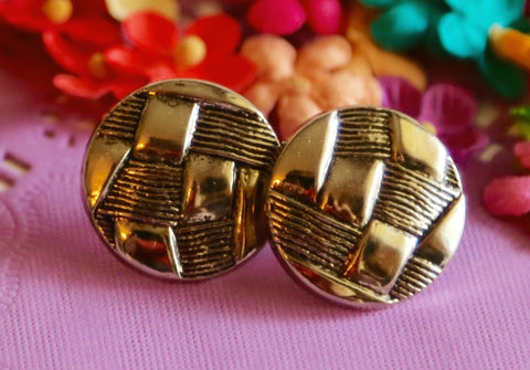 Gold Patchwork Button Earrings