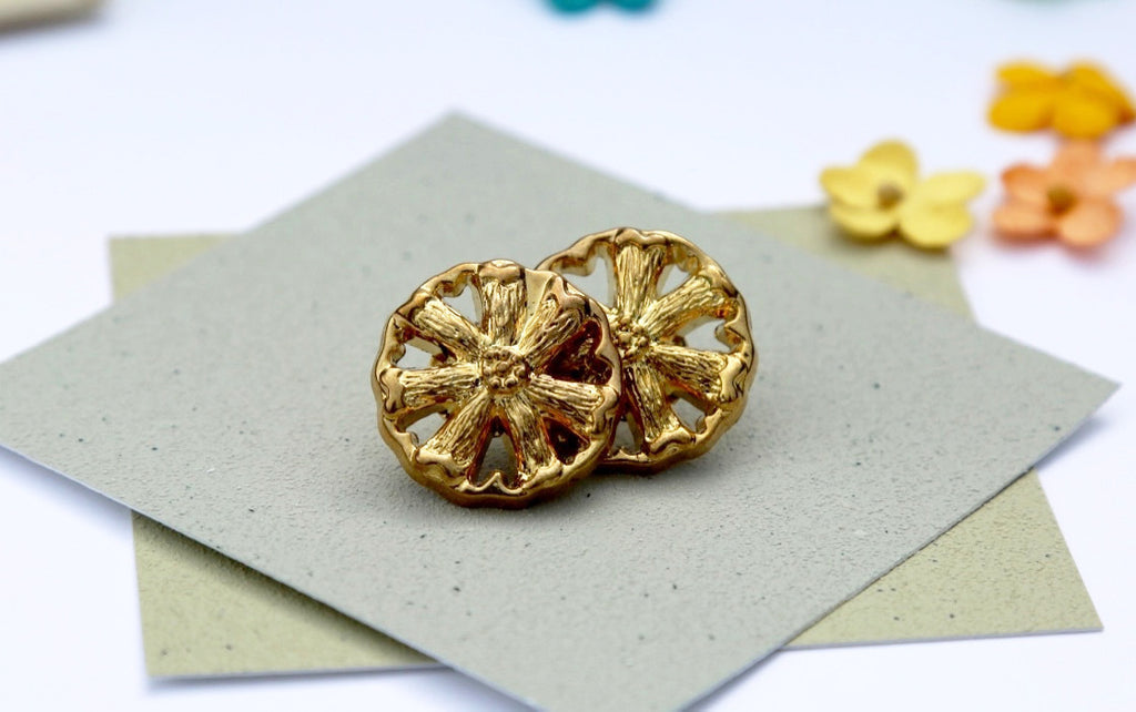 Golden Wheel Button Earrings