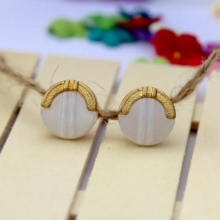 Gold Dipped Button Earrings