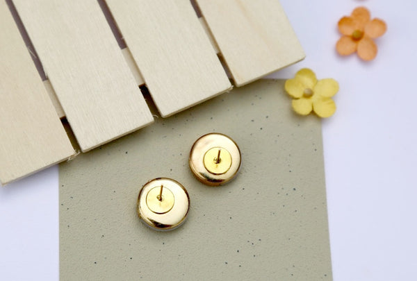 Gold Dipped Button Earring Backs